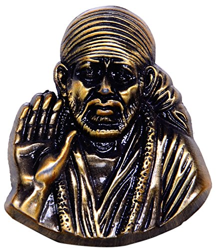 Purpledip Shirdi Sai Baba Miniature Metallic Idol/Statue for Table Top, Home Temple, Car Dashboard in Vintage Finish (10342)  available at amazon for Rs.255