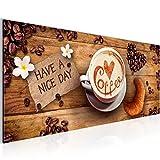 Bilder Küche Kaffee Wandbild 100 x 40 cm Vlies - Leinwand Bild XXL Format Wandbilder Wohnzimmer Wohnung Deko Kunstdrucke Braun 1 Teilig -100% MADE IN GERMANY - Fertig zum Aufhängen 501212a