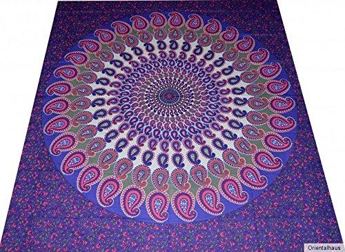 Tagesdecke Indien Bettüberwurf Wandbehang Batik Tribal Vorhang Überwurf Mandala Tischdecke 240 x...
