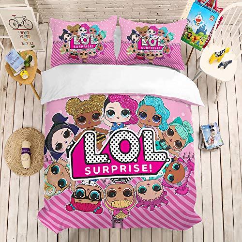 bed linings Cartoon Puppe Bettbezug Sets 3D Druck 3 Stück Set Bettwäsche 100% Mikrofaser Für Geschenke (1 Bettbezug + 2 Kissenbezüge) I-Twin(172x218cm) -