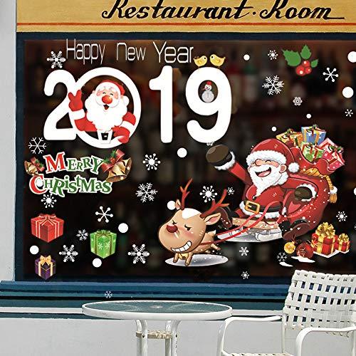 Catrne adesivi per finestre di natale porta a muro fai da te adesivi per decalcomanie riutilizzabili decorazioni di natale per l'ornamento di natale home decor festa per feste, set di 2