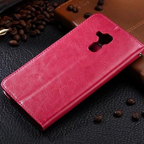 Wkae Case Cover Huawei 5C Fall feste Folio magnetische Design Flip Brieftasche Stil Fall Farbmuster PU-Leder-Abdeckung Standup-Abdeckungsfall für Huawei 5C ( Color : Black , Size : Huawei 5C ) Red