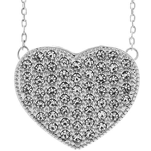 Collana in oro bianco 18K con design a forma di cuore, con cristalli incastonati con una catena 40,6cm allungabile e cristalli di alta qualità by Matashi