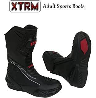 XTRM Evo Semi Motorcycle Sports Boots Heavy Duty Adults Bike Racing Rider Armoured Leather Motorbike Boots Black Blue