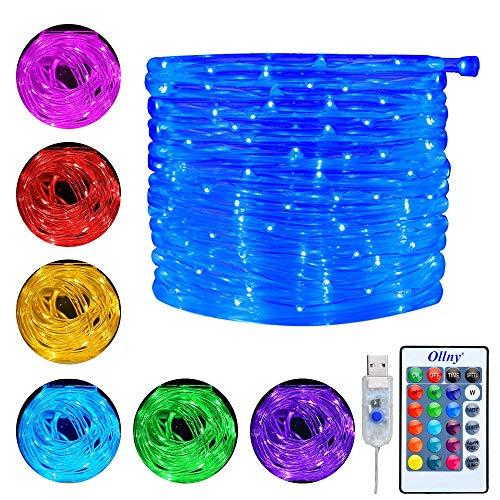Ollny Lichterschlauch 10M 100 LED USB Lichterkette 16 Farben 4 Modi mit Fernbedienung & Timer für Weihnachten Partydekoration Geburstag Hochzeit Wohnzimmer Kinderzimmer