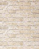 EDEM 583-20 Papel pintado con efecto muro de ladrillos con imitación piedra stones y diseño rústico en beige arena
