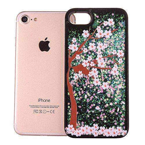 iPhone 7 Plus Hülle-Aohro 3D Kreativ Muster Transparent Hard PC Back Case Handytasche für Apple iPhone 7 Plus(5.5 Zoll)Glitzer Schwarz Sterne Star Fließen Flüssig Flüssigkeit Handyhülle Handy Hülle Ca Plum tree