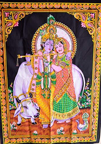 adha Krishna Poster Pailletten Arbeiten, indische religiöse Baumwolle Poster, Wandbehang, böhmische Wohnheim Zimmer Dekorationen, Hippie Wand Kunst Größe 30