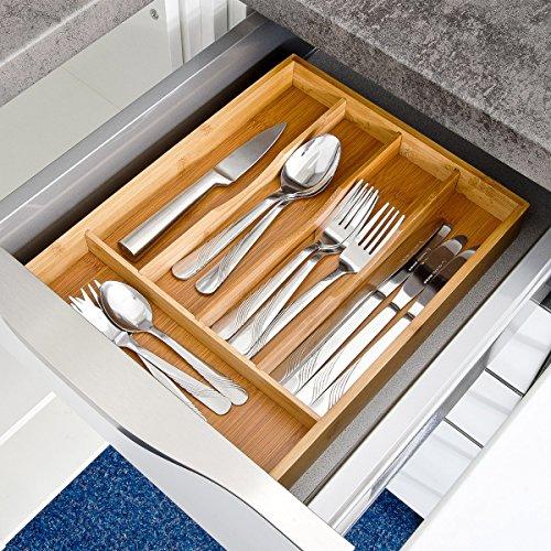 relaxdays besteckkasten hxbxt ca 4 5 x 25 5 x 34 cm besteckbox aus bambus besteckeinteiler f r. Black Bedroom Furniture Sets. Home Design Ideas