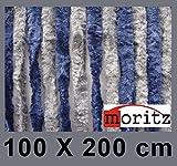 Moritz® Chenille Flauschvorhang Fliegenschutz 100 x 200 cm NEU 24 Stränge (blau / grau)
