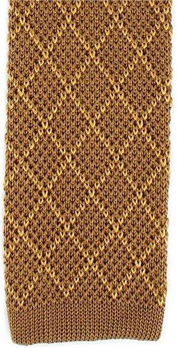 Michelsons of London Brown/diamants en or soie tricoté Skinny cravate de