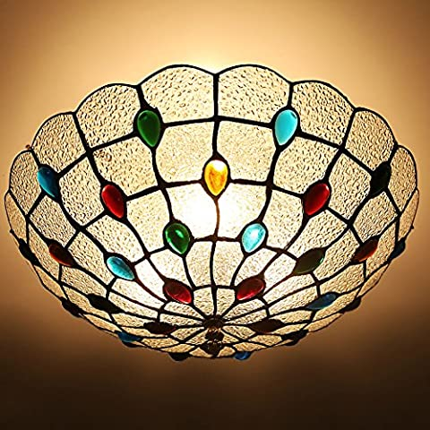 Circular ceiling/Tiffany lamps bedroom/Glass cozy living room lamps/Vintage American Creative