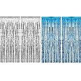 4 Pièces Rideaux Métalliques Rideaux à Franges Métalliques Rideau Shimmer pour Décorations de Noël et de Fête de Mariage (Argent et Bleu Clair)
