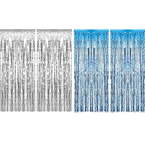 4 Packung Folie Vorhänge Metallic Fringe Vorhänge Schimmer Vorhang für Geburtstag Hochzeit Weihnachtsschmuck (Silber und Hellblau)
