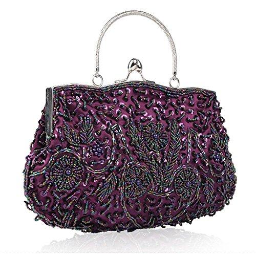 damen abendtasche perlen pailletten satin dinner party clutch taschen. 30 x 26cm purple