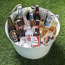 Cubo enfriador para botellas de cerveza con asas de cuerda, color blanco, Acero galvanizado