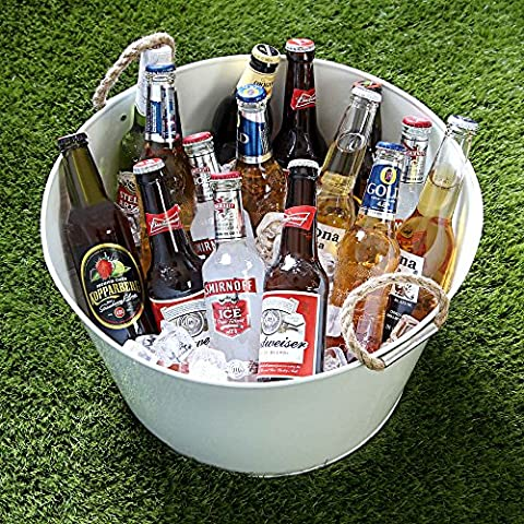 Party Tub with Rope Handles - White Galvanised Steel Drinks Pail Cooler for Beer and Wine Bottles