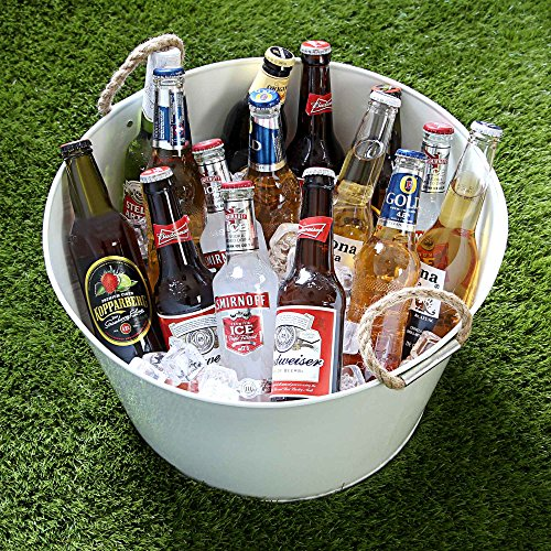 Party Tub con asas de cuerda, color blanco, Acero galvanizado, bebidas cubo enfriador para botellas de cerveza y vino