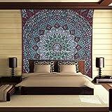 Pluma Culture Pared banda Colgando granate verde reina del algodón impreso floral Mandala de la estrella de la tapicería
