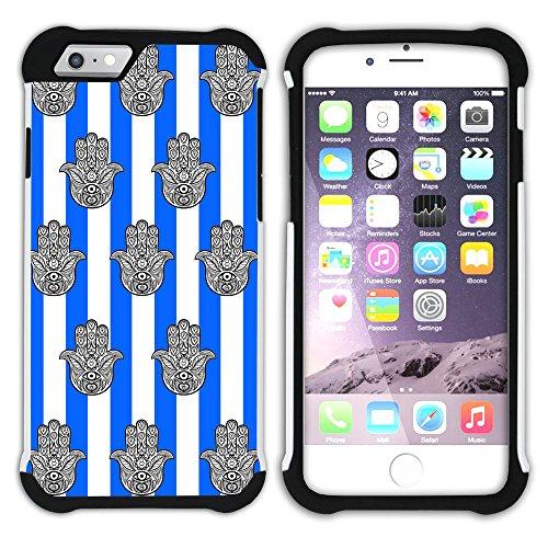 Graphic4You Monogramm Hamsa Hand der Fatima Streifenmuster (Lila) Hart + Weiche Kratzfeste Hülle Case Schale Tasche Schutzhülle für Apple iPhone 6 Plus / 6S Plus Königsblau