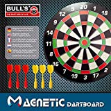 BULL'S Magnetic Dartboard / Dartscheibe, inkl BULL's Wandhalterung, 6 magnetische Darts
