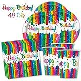 Happy Birthday PartyBox Rainbow - Das knallbunte Party Set für eine tolle Geburtstagsfeier - Ausstattung mit Teller, Becher, Servietten & Co. (Basic für 16 Gäste - 48-tlg.) - PARTYMARTY GMBH®