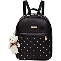 Fargo PU Leather Stylish Women's Backpack (Black_Teddy_FGO-258)