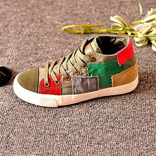 NSX High Top piani delle donne inferiore Lace-Up casuale di tela Athletic Shoes Skate Sneakers , 36 , army green ARMYGREEN-36
