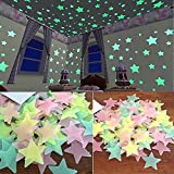 StickonnTM Multi Colour Fluorescent Glow In The Dark Star Wall Sticker(Pack of 50 Stars ,Size: 3x3 cm)