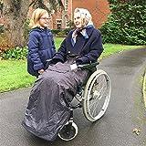 BundleBean - Fußsack für Rollstühle für Erwachsene - Fleece-Futter - wasserdicht - Universalgröße Einfach zu befestigen, mit kompaktem Packbeutel zum Aufbewahren - Schwarz