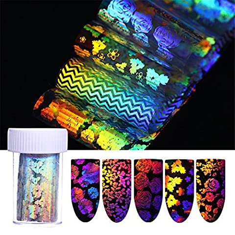 Born Pretty 8 Rolls 4*100cm Transparent Holographic Nail Foil Laser Rose Stripe Flower Nail Art Transfer Sticker