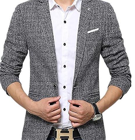 Insun Herren 1 Knopf Design Freizeit Sakko Sportlich Party Blazer Club Sweatjacke Formell Lässig Anzug Grau 52