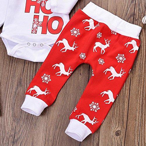 QUICKLYLY 3pcs Navidad Conjuntos de Ropa para Beb/é Ni/ña Ni/ño Carta Impresi/ón Mameluco Tops Ciervos Pantalones Sombrero Trajes Ropa 0~24 Meses