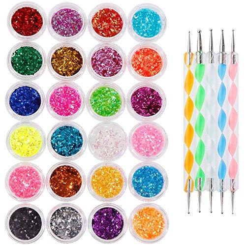 Faburo 24 PCS Paillette Beaux Acrylique de Poudre de Scintillement pour l'art d'ongle conception, décoration Glitter Powder Dust (5g Jar)