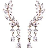 Ear Vines Orecchini ear cuff con cristalli di zirconia cubica a forma di foglie, con pendenti, 1 paio