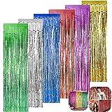LZYMSZ Confezione da 6 Fogli Tende Metalliche Tinsel Foil Frange Tende Decorazioni per Matrimonio/Compleanno/Festa/Natale/Halloween (6 Colori)