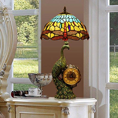 Lampe de Tiffany style/Art Deco verre lampe/ lampe de chevet de paon rétro-A