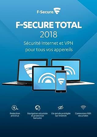 F-Secure TOTAL Sécurité Internet et VPN 2018 - 2 an / 3 appareils - toutes les plateformes [Code Jeu ]