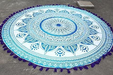 Ombre Blue Mandala Roundie Purple Color Tassel Pom Pom Fringing Beach Throw Yoga Mat Table Cloth Hippy Hippie Boho Gypsy Wall Hanging by fairdecor
