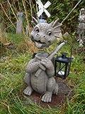 Gartendrache mit Teelicht Laterne und Wackelkopf Drache Figur