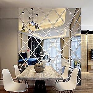 Hukz Wandaufkleber Wallsticker Spiegel Wandaufkleber Liebe DIY 3D Aufkleber Spiegel Aufkleber Home Wohnzimmer Dekoration Wandtattoo Wandaufkleber Sticker Wanddeko (Silber)