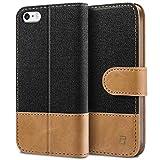 BEZ® Hülle für iPhone SE Hülle, Handyhülle Kompatibel für iPhone SE 5 5S Hülle, Handytasche Schutzhülle Tasche [Stoff und PU Leder] mit Kreditkartenhaltern - Schwarz