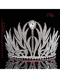 Santfe Mujeres Boda Corona Novia Fiesta Rhinestone Crystal Tiara Diadema Joyería Color Plata