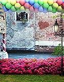 A.Monamour Gunged Mauer Blumen Ballons Im Freien Gras Landschaft Fotografie-Studio Kulissen Vinyl Requisiten Hintergründe