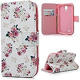 YOKIRIN Flip Cover PU Leder Tasche Case Schutzhülle für Samsung Galaxy S4 S IV I9500 Hülle Handy Tasche Etui Schale mit Standfunktion Kredit Kartenfächer (color-1)