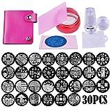 Biutee modelli di francobolli per manicure 30 modelli di stencil per timbri per nail art + 2 set di matrice per timbri e raschietti + 1 pz con sacchetto di immagazzinaggio
