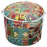 Stylo Culture Pouf Pouf Housse Pouf Ottoman Sombre Vert Ethnique Brodé Patchwork Coton Pouf Tissu Rond Traditionnel Pouf Ottoman (18x18x13 Pouces) 45cm