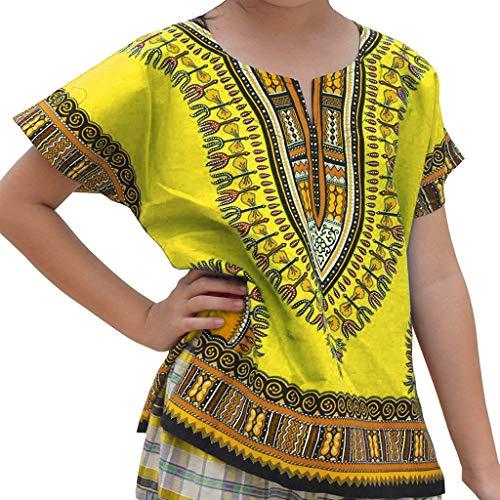 WUSIKY Baby Mädchen Jungen Top Sommer, Junge Mädchen Kinder Baby Unisex Helle Afrikanische Farbe Kind Dashiki T Shirt T Tops Lässige Mode Shirt Set Geschenk für Kinder(Gelb,110)
