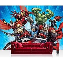 Papel Pintado Fotográfico Premium Plus pared–Fotomural Pared De Papel pintado–ilustraciones pintado Marvel Avengers–Assemble–Papel pintado infantil dibujos animados Comic Azul–No. 1137, mehrfahrbig, blau, Fototapete 254x168cm   PREMIUM Blue Back