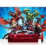 Vlies Fototapete 200x140 cm PREMIUM PLUS Wand Foto Tapete Wand Bild Vliestapete - Illustrationen Tapete Marvel - AVENGERS - Assemble - Kindertapete Cartoon Comic blau - no. 1137